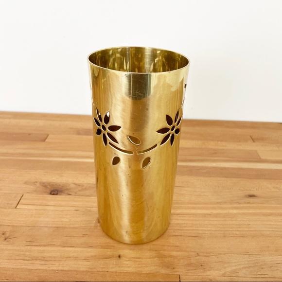 Vintage Brass Floral Vase